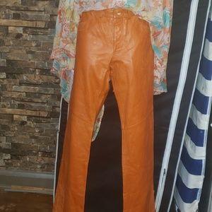 Distressed Orange Leather Pants